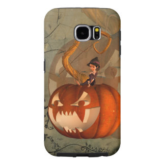 Halloween, funny pumpkin with cute witch samsung galaxy s6 cases