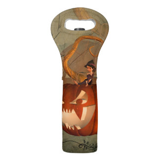 Halloween, funny pumpkin with cute witch wine bag