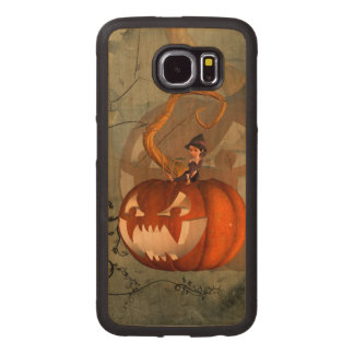 Halloween, funny pumpkin with cute witch wood phone case