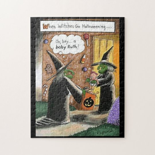 Halloween Funny Witches Trick or Treat Jigsaw Puzzle