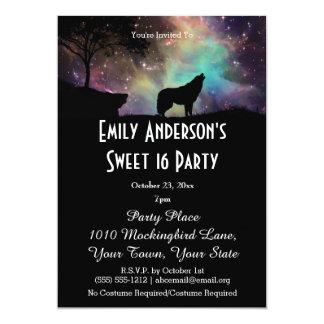 Halloween Galaxy Wolf Costume Sweet 16 Birthday Card