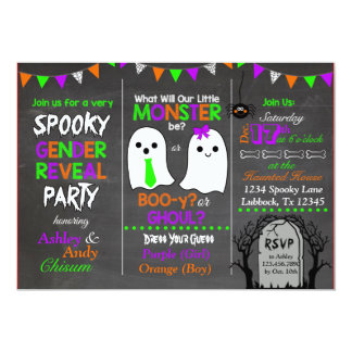 Halloween Gender Reveal Invitation