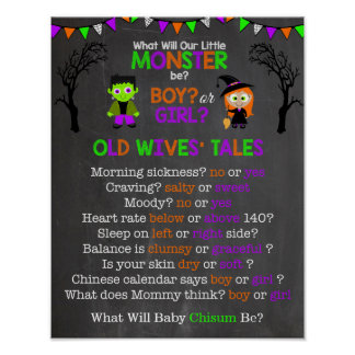 Halloween Gender Reveal Old Wives' Tales Poster