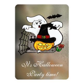 Halloween ghost and jack-o-lanterns 13 cm x 18 cm invitation card