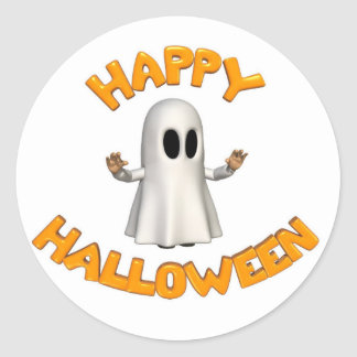 Halloween ghost classic round sticker