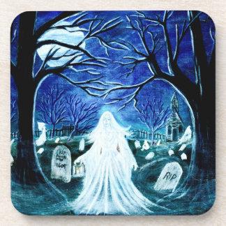 Halloween ghost in graveyard,tombstones drink coaster