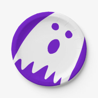 halloween ghost paper party plate small purple