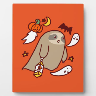 Halloween Ghost Sloth Plaque