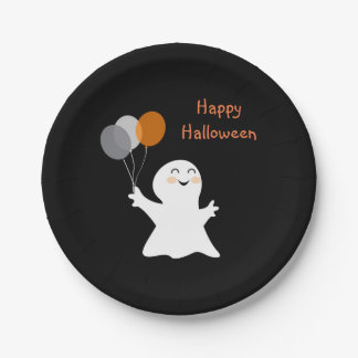 Halloween Ghost with Balloons 7 Inch Paper Plate