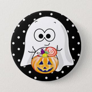 Halloween Ghost with Pumpkin Candy Bucket Button