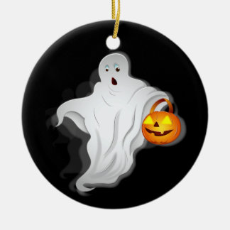 Halloween Ghost with pumpkin Ceramic Ornament