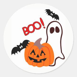 Halloween Ghost with pumpkin Classic Round Sticker