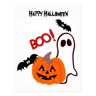 Halloween Ghost with pumpkin Postcard