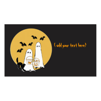 halloween ghosties on  black, business card template