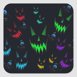 Halloween Ghostly Jack O' Lanterns Square Sticker