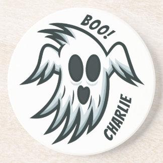 Halloween Ghosts custom name sandstone coaster