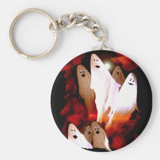 Halloween Ghosts Basic Round Button Key Ring