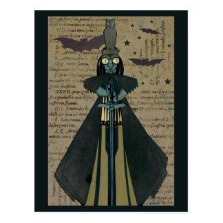 Halloween Ghoul Bats Owl Stars Postcard