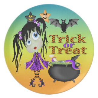 Halloween Ghoul Girl Dinner Plate