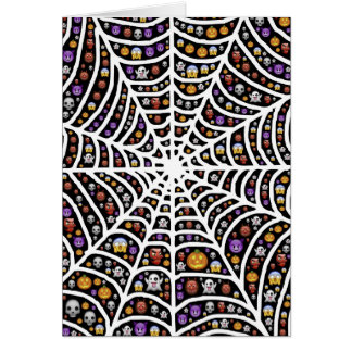 Halloween Ghouls & Goblins in a Spiderweb Card