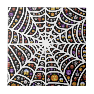 Halloween Ghouls & Goblins in a Spiderweb Ceramic Tile