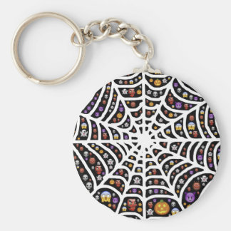 Halloween Ghouls & Goblins in a Spiderweb Key Ring