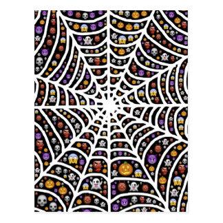 Halloween Ghouls & Goblins in a Spiderweb Postcard