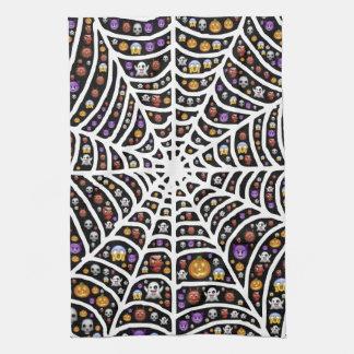 Halloween Ghouls & Goblins in a Spiderweb Tea Towel