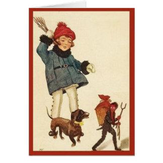 Halloween Girl &  Dachshund Chase Devil Card