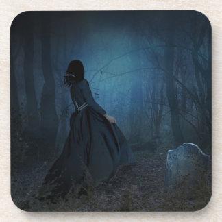 Halloween Girl in Graveyard Coasters