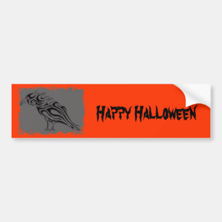 Halloween Glossy Black Raven Bumper Sticker