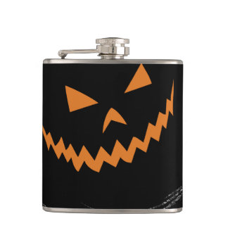 Halloween Glowing Jack O'Lantern in a black swirl Hip Flask