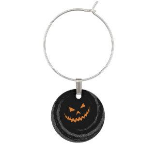 Halloween Glowing Jack O'Lantern in a black swirl Wine Charms