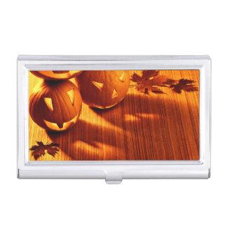 Halloween glowing pumpkins border business card holder