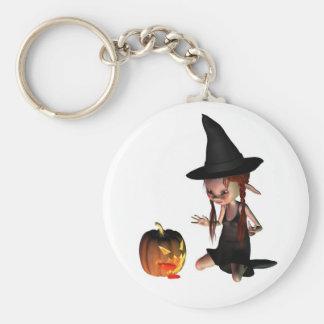 Halloween Goblin Witch with Pumpkin Lantern Key Chain