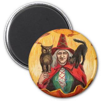 Halloween Good Wishes Witch 6 Cm Round Magnet