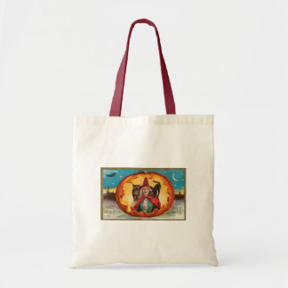 Halloween Good Wishes Witch Canvas Bag