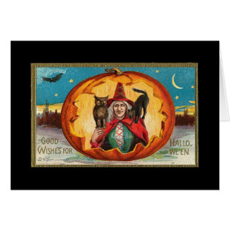 Halloween Good Wishes Witch Card