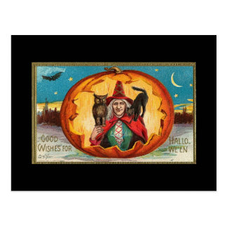 Halloween Good Wishes Witch Post Card