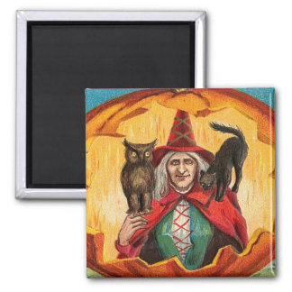 Halloween Good Wishes Witch Square Magnet