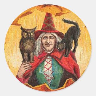 Halloween Good Wishes Witch Round Sticker