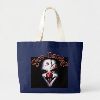 halloween gothic clown tote bag