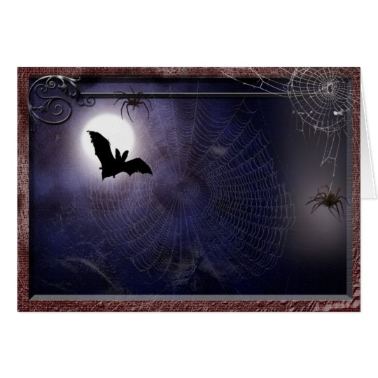 Halloween / Gothic full moon bat Template Card