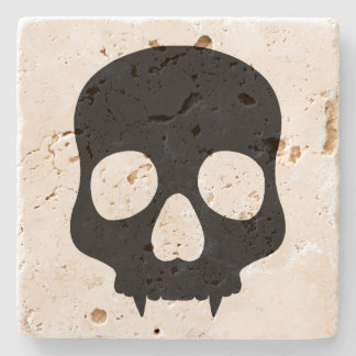 Halloween gothic style black fanged skull stone coaster