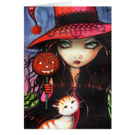 Halloween Gothic Witch Cat Card Note Card
