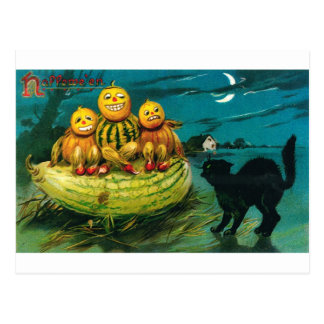 Halloween Gourd Peopl and Cat Postcard