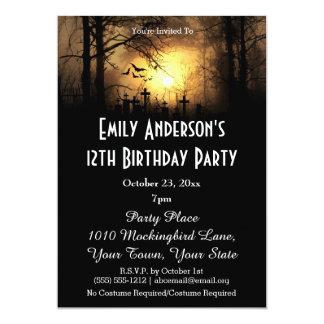 Halloween Graveyard Birthday Card