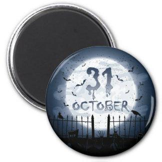 Halloween graveyard scenes 31 october 6 cm round magnet