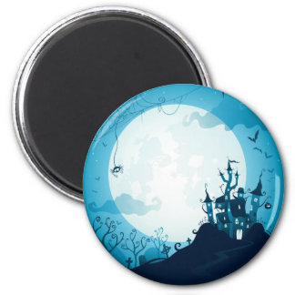 Halloween graveyard scenes haunted ghost house 6 cm round magnet