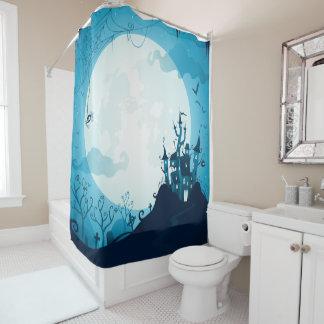 Halloween graveyard scenes haunted ghost house shower curtain